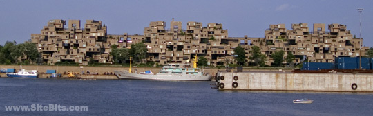 Habitat 67 seen from across Canal Lachine