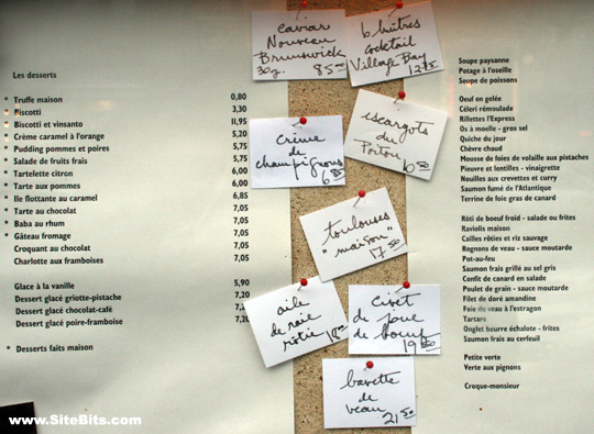 Restaurant L'Express: the Menu
